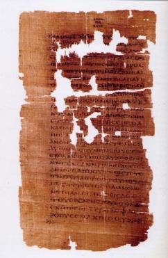 Uma das páginas do documento denominado Evangelho de Judas, encontrado no Egito na década de 1970. (Foto; WolfgangRieger,Creative Commons)