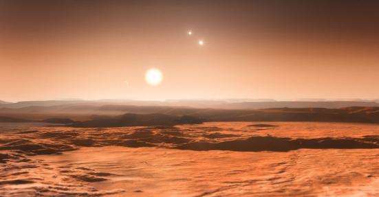 """Astrônomos encontraram evidências da existência de ao menos seis planetas ao redor da estrela Gliese 667C, localizada na constelação do Escorpião, a 22 anos-luz de distância, segundo o Observatório Europeu do Sul (ESO, na sigla em inglês). Três deles são """"super Terras"""" (eles têm mais massa do que o nosso planeta, mas são menos massivos do que Urano ou Netuno, por exemplo) que orbitam uma região onde a água pode existir sob forma líquida e com temperatura adequada, o que os faz bons candidatos à presença de vida como a conhecemos. Esta é a primeira vez que três corpos são descobertos na zona habitável de um mesmo sistema planetário, destaca o ESO"""