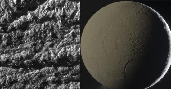 Já Enceladus, lua de Saturno, é outra candidata a abrigar vida no Sistema Solar. Foram encontrados gêiseres de água (em vapor), mas as possibilidades aqui são menores do que em Europa, lua de Júpiter, por exemplo. O satélite é uma bola de gelo e possui uma paisagem diferente de outras luas e planetas, com ranhuras e colinas, mas não crateras. Na imagem da direita, é possível ver nuvens de cristais de gelo, o que pode indicar a existência de um mar abaixo da superfície -- a presença de água é a primeira grande característica favorável à vida. Há também atmosfera, outra característica essencial. A lua é tão branca que reflete cerca de 99% da luz que recebe do planeta e só uma pequena porção dela é iluminada diretamente pelo Sol; por isso, a temperatura na superfície é de -201 graus Celsius. Apesar disto, o polo Sul dessa lua é mais quente, o que indica uma fonte de calor interna