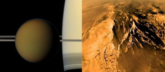 Titã, a maior lua de Saturno, também possui água e, por isso, é tida como um local possivelmente habitável. Entretanto, possui muito metano, o que obrigaria a existência de uma forma de vida diferente da que encontramos na Terra. Ela também possui atmosfera marrom alaranjada e elementos químicos complexos, como hidrocarbonetos. Na imagem da direita, é possível ver a atmosfera e pequenos grãos de areia do satélite