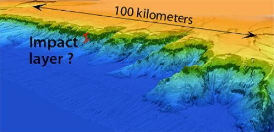 Esta imagem close-up do Campeche Escarpa da pesquisa sonar 2013 mostra uma camada de rocha resistente que os pesquisadores acreditam que podem conter rochas formadas durante um evento de impacto 65 milhões de anos. (Crédito: Copyright 2013 MBARI)