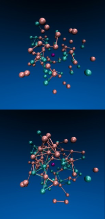 A computer simulation by Jeremy England and colleagues shows a system of particles confined inside a viscous fluid in which the turquoise particles are driven by an oscillating force. Over time (from top to bottom), the force triggers the formation of more bonds among the particles.