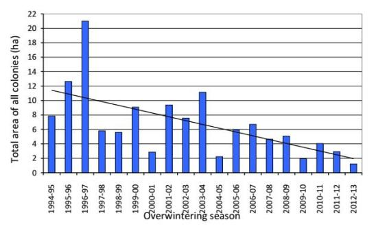 The total annual area occupied by overwintering monarch butterflies from 1994 through 2013 has declined significantly, with the all-time smallest area reported during the 2012–13 overwintering season. (Source: Brower et. al 2012 updated with data from the author for the past two years)