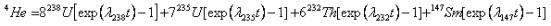 Onde λ representa as constantes de decaimento dos isótopos pais.
