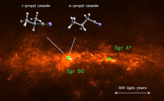 A molécula orgânica iso-propilo cianeto tem uma cadeia de carbono ramificada (i-C3H7CN, esquerda), ao contrário do seu isómero de cadeia linear normal de cianeto-propil (n-C3H7CN, direita). Ambas as moléculas foram detectadas com ALMA em Sagitário B2.  Crédito: MPIfR / A. Weiss, da Universidade de Colônia / M. Koerber, MPIfR / A. Belloche