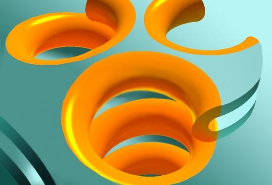 Rendição do artista de Terasaki espiral rampas, hélices que se conectam pilhas de folhas uniformemente espaçados no retículo endoplasmático rugoso. Crédito: Jemal Guven