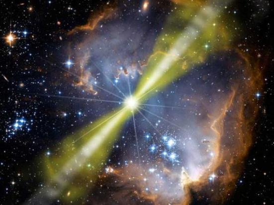 NASA / Swift / Mary Pat Hrybyk-Keith e John Jones Explosões estelares chamadas explosões de raios gama emitem feixes de radiação que poderiam tornar 90% das galáxias desprovidas de vida complexa.