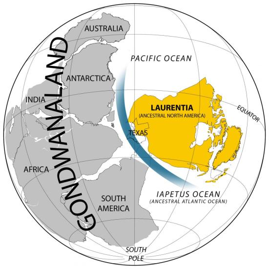 Uma nova análise da The University of Texas at Instituto de Austin de Geofísica sugere um gateway oceânica profunda, mostrada em azul, desenvolvido entre os oceanos Pacífico e Iapetus imediatamente antes do Cambriano aumento do nível do mar e explosão de vida no registro fóssil, isolando Laurentia da supercontinente Gondwana. Crédito: Ian Dalziel