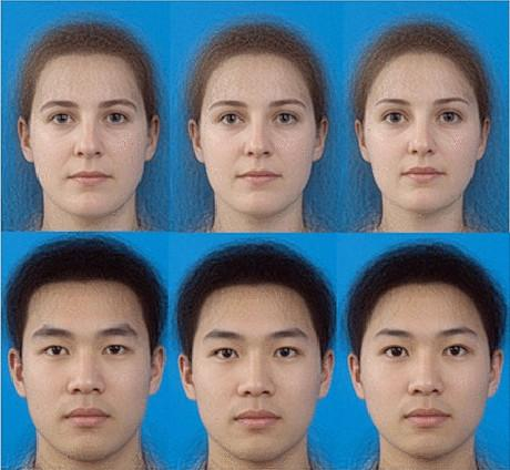 Algumas das imagens digitalizadas de rostos utilizados no estudo (Cortesia Isabel Scott)]