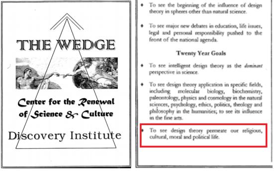 The Wedge. Do lado direito esta em evidência a parte em que demonstra o conteúdo religioso dentro do conceito de Design Inteligente!!!