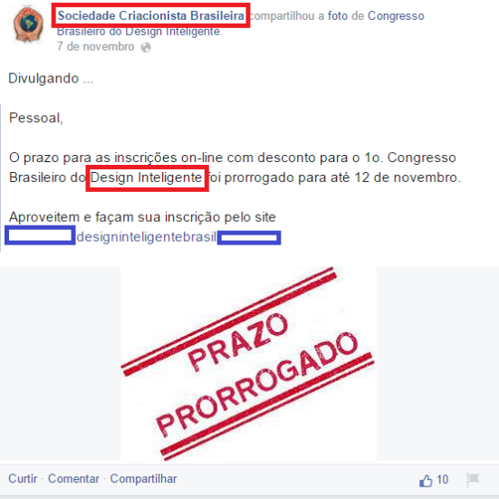 A Sociedade Criacionista Brasileira, principal órgão criacionista do Brasil fazendo propaganda de um Congresso de Design Inteligente que foi organizado por um criacionista.
