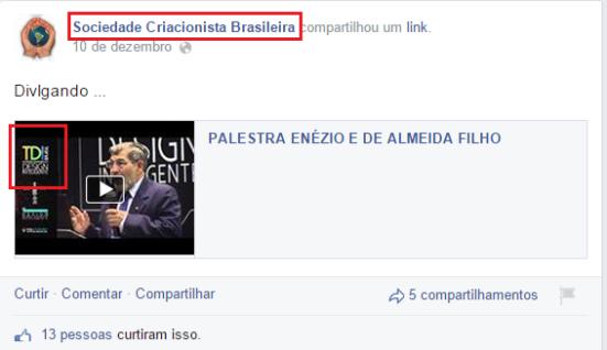 Sociedade Criacionista Brasileira cita um palestrante que defende ambos criacionismo e Design inteligente