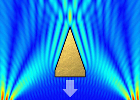 Processado imagem de raio trator do computador produzida na Universidade de Dundee: feixes de ultra-som emergem dos dois cantos inferiores, investedo a partir de lados opostos de um alvo triangular. Isso resulta em uma força resultante que arrasta o corpo para baixo (Cortesia Universidade de Dundee, Physical Review Letters)