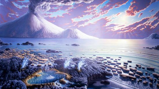 Representação do o Arqueano ou Arcaiqueano (antes Arqueozoico) é o éon que está compreendido aproximadamente entre 3,85 bilhões de anos e 2,5 bilhões de anos atrás.