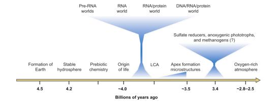 Timeline dos acontecimentos que levaram à origem e evolução precoce da vida. LCA, último ancestral comum. Figura adaptado com permissão de Joyce de 2002.