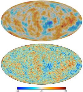 Dados completo de missão de Planck, lançado em fevereiro de 2015, fornecer um mapa incrivelmente precisa da polarização (top) e temperatura (parte inferior, com escala em kelvin) padrões na radiação cósmica de fundo. Crédito: Planck Collaboration