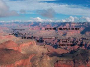 Embasamento rochoso de Vishnu e outras formações geológicas