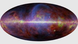 Este mapa composto da Via Láctea a partir da missão Planck combina vários tipos de emissão: síncrotron (de partículas carregadas corkscrewing em campos magnéticos), livre-livre (de elétrons espalhamento off íons), poeira girando e poeira quente. Cientistas Planck deve subtrair tudo emissão galáctica, a fim de ver a radiação cósmica de fundo. Crédito: Planck Collaboration