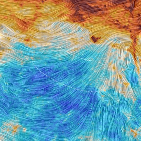 A região do céu do sul, onde o telescópio BICEP2 observado polarização microondas, mostrados como linhas pontilhadas sobre dados de Planck.