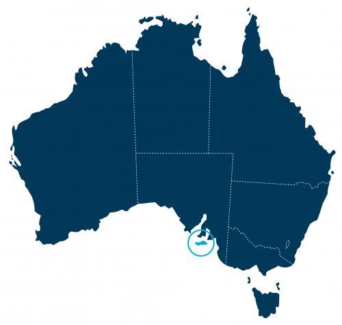 A localização de Kangaroo Island, ao largo da costa sul da Austrália do Sul.