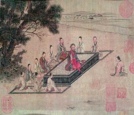 Nesta pintura de seda da dinastia Song, Confúcio palestras aos alunos sobre os princípios da piedade filial. FOTOGRAFIA DE HOWARD Sochurek, a coleção retrato da vida, GETTY IMAGES