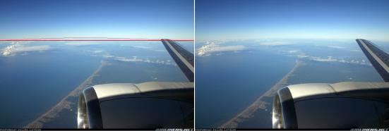 Ao voar de Concorde a curvatura da terra fica bem evidente. Clique para ampliar
