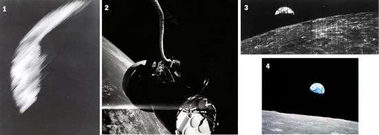 """Foto 1) 14 de agosto de 1959: Primeira foto bruta da Terra do satélite Explorador VI. A foto mostrava uma área iluminada pelo sol da cobertura e nuvem oceano Pacífico. Foi tomada a partir de cerca de 17.000 milhas (27.350 km) acima da superfície. (Imagem cortesia do website NASA GRIN) Foto 2) 05 de junho de 1966: O astronauta Eugene Cernan tirou essa foto incrível do Gêmeos 9 e a Terra durante sua EVA (atividade extraveicular). A nave espacial de si mesmo e de Cernan """"umbilical"""" (o cabo que o mantém conectado aos sistemas da nave espacial) são visíveis no topo de um fundo bonito da Terra. (Imagem cortesia do website NASA GRIN) Foto 3) 23 de agosto de 1966: A primeira vista da Terra a partir da Lua. A imagem foi feita pelo Lunar Orbiter I quando a nave espacial estava em sua órbita 16 e estava prestes a passar por trás da Lua. (Imagem cortesia do website NASA GRIN) Foto 4) 29 de dezembro de 1966: A vista espectacular sobre o nascer da Terra da Lua, tirada pela tripulação da Apollo 8, depois de sair do outro lado da Lua, aproximadamente 239.000 milhas (384.000 km) da Terra. (Imagem cortesia do website NASA GRIN) Imagens retiradas de Liberu Ciência"""