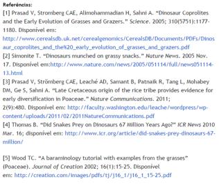 Referências usadas pelo criacionista. A último citação é referente ao Journal of Creation, que não corresponde a uma publicação científica.