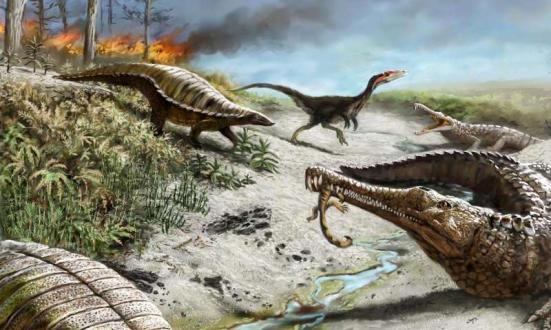 212 milhões anos atrás no que é agora norte do Novo México, a paisagem era seco e quente com incêndios florestais comuns. Dinossauros adiantados tais como o dinossauro carnívoro no fundo eram pequenos e raros, enquanto outros répteis, como os phytossauros longa-papo-amarelo e aetossauros blindados eram bastante comuns. Crédito: Victor Leshyk