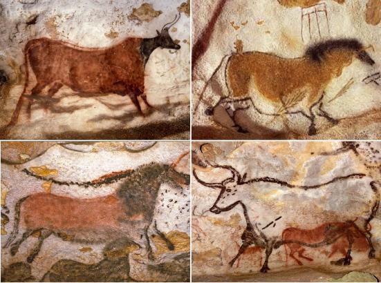Pinturas da Caverna de Lascaux. A ultima figura representa um Auroque. Clique para ampliar