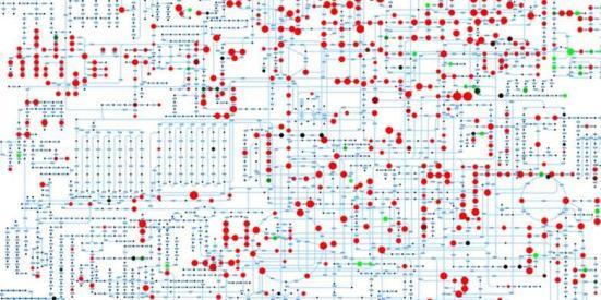 ETH cientistas são capazes de medir numerosos metabolitos (vermelho e verde) em pontos um minuto usando um novo método. Crédito: Nicola Zamboni / ETH Zurich