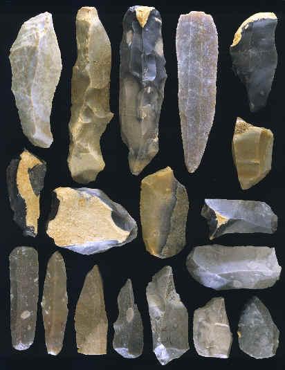 Ferramentas do Paleolítico superior. Aurignacense Solvieux do sul da França.