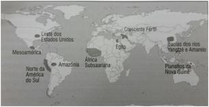 Principais centros de desenvolvimento de agricultura a entre 17 e 8 mil anos atrás.