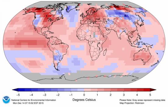 Temperatura global foi bem acima da média no mês de novembro. (NOAA). Clique para ampliar
