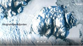 Imagem Landsat-8 de Zachariae Isstrom e Nioghalvfjerdsfjorden geleiras da Groenlândia, adquirida em 30 de agosto de 2014. Crédito: NASA / USGS