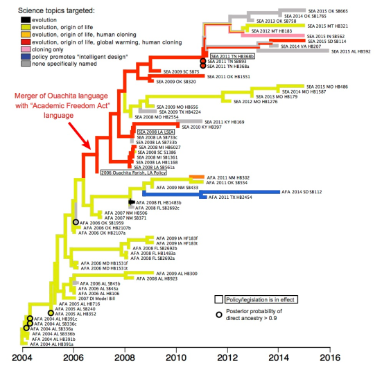 Árvore filogenética original de Nick Matzke da legislação anti-evolução. Cortesia de Nick Matzke