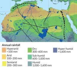 Os seres humanos atravessaram o Norte de África, onde os rios e lagos tinha formado mais de 75.000 anos atrás, a equipe de Eleanor Scerri sugere. As linhas tracejadas indicam movimentos de grupos que fizeram ferramentas de pedra semelhantes em vários locais ao longo desses corredores. Setas em ambas as extremidades de linhas pontilhadas representam movimentos em ambas as direções. Crédito: Cortesia de E. et al Scerri