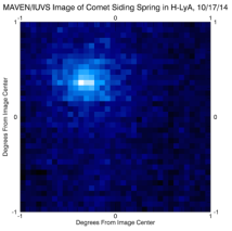 A imagem mostra a luz solar que tem sido espalhada por hidrogênio atômico, e é mostrado como azul nesta representação de cores falsas. Cometas são cercados por uma enorme nuvem de hidrogênio atômico, porque a água (H2O) vaporiza a partir do núcleo gelado e luz solar ultravioleta divide-apart em hidrogênio e oxigênio. Os átomos de hidrogênio dispersam a luz solar ultravioleta