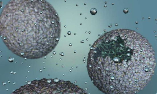 Rendição do artista da P22-hidráulica, um novo biomaterial criado por encapsular uma enzima produtora de hidrogênio dentro de um shell vírus. Crédito: Universidade de Indiana