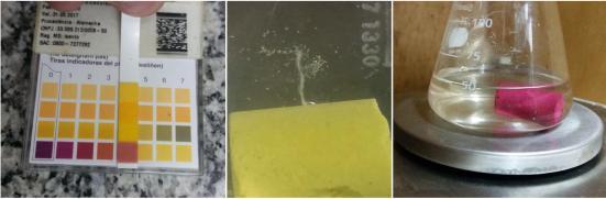 A esquerda: papel tornassol mostrando o o ph em aproximadamente 3,0 do ácido acético. No centro; reaçao deliberação de CO2 em um teste piloto.. A direita, a mensuraçao da massa do giz mergulhado em soluçao de acido acético (4% volume)