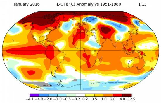 anomalias de temperatura para janeiro, 2016. NASA Goddard Institute for Space Studies