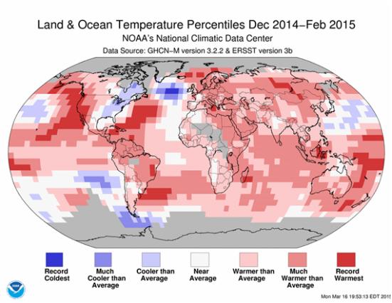 De acordo com o National Climatic Data Center, o mundo só vi o seu inverno mais quente de sempre ... exceto em um ponto no oceano Atlântico Norte (a cor azul profundo acima), que estabeleceu um recorde para o frio. Que não é bom. (NCDC)