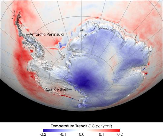 Ao longo de 1982 - período de 2004 descrita acima, há um contraste muito forte entre as tendências de temperatura observados através da camada de gelo.