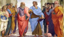 uma das mais famosas pinturas do renascentista italiano Rafael e representa a Academia de Atenas (Scuola di Atene). Platão segurando o Timeu (Leonardo da Vinci). 15: Aristóteles segurando Ética a Nicômaco.