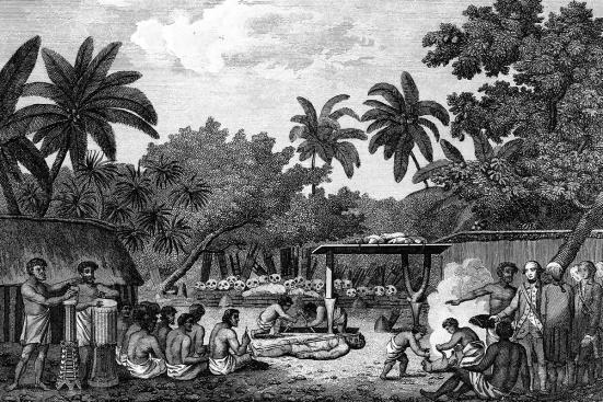 James Cooke: testemunhando o sacrifício humano no Tahiti em torno de 1773. Rex Features / Shutterstock