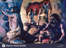 Homo sapeins no Paleolítico quando há o desenvolvimento cognitivo e aqui a expressao simbólica, abstração tornando o desconhecido em conhecido