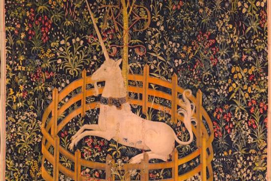 O unicórnio no cativeiro (domínio público), tapeçaria do século 15