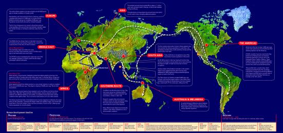 Out of Africa - entre 60-50 mil anos. Clique para ampliar