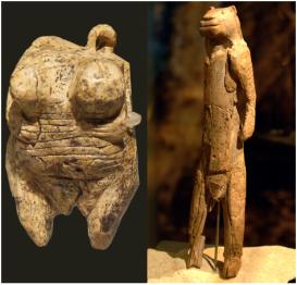 Uma deusa Vênus (esquerda) e o homem-leão (direita). Pequenos, estatuetas de 30.000 anos de idade da Alemanha sugerem crença religiosa.