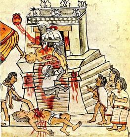 O sacrifício humano como mostrado no Codex Magliabechiano, Folio 70. Heart-extração foi visto como um meio de libertar a istli e se reunir com o Sol: coração transformado da vítima voa Sun-ward em uma trilha de sangue.